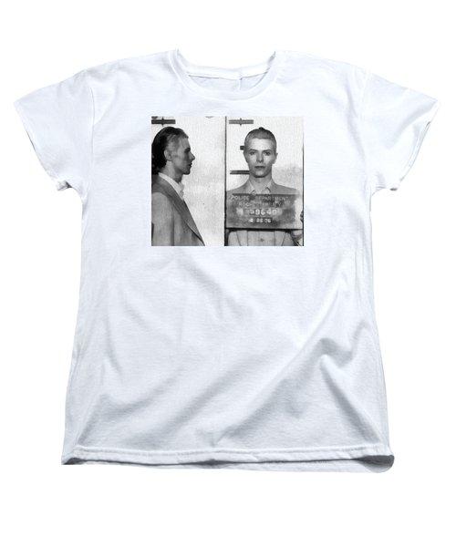 David Bowie Mug Shot Women's T-Shirt (Standard Cut) by Dan Sproul