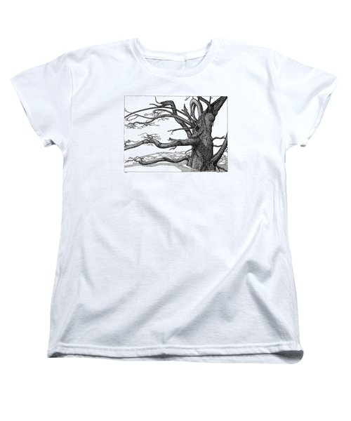 Women's T-Shirt (Standard Cut) featuring the drawing Dead Tree by Daniel Reed