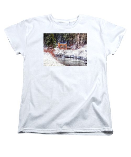 Deep Snow In Spearfish Canyon Women's T-Shirt (Standard Cut) by Lanita Williams