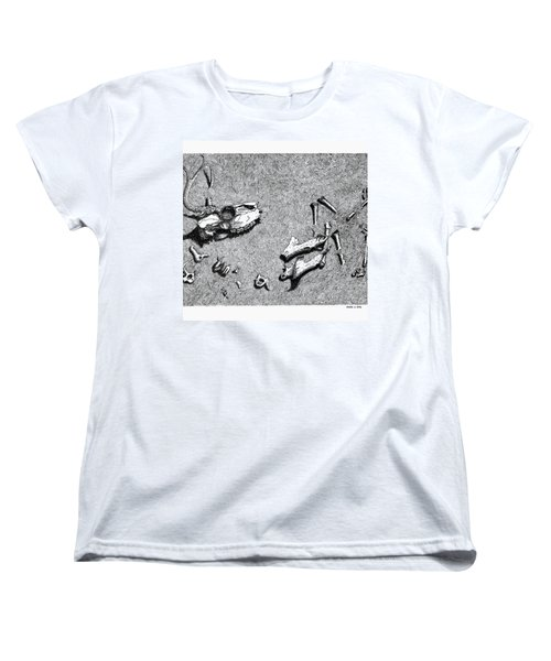 Women's T-Shirt (Standard Cut) featuring the drawing Deer Bones by Daniel Reed