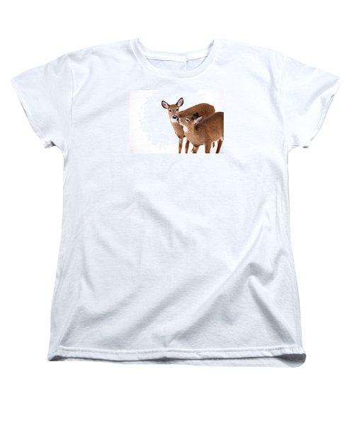 Deer Kisses Women's T-Shirt (Standard Cut) by Karol Livote