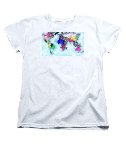 Digital Art Map Of The World Women's T-Shirt (Standard Cut) by Georgi Dimitrov