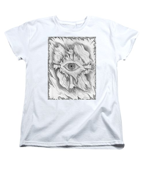 Women's T-Shirt (Standard Cut) featuring the drawing Dimension 4 by Roz Abellera Art