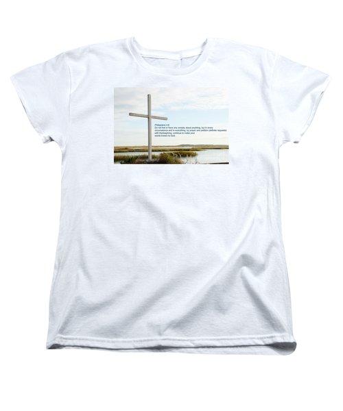 Belin Church Cross At Murrells Inlet With Bible Verse Women's T-Shirt (Standard Cut) by Vizual Studio