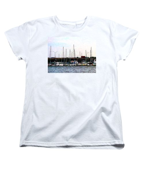 Women's T-Shirt (Standard Cut) featuring the photograph Docked Boats Norfolk Va by Susan Savad