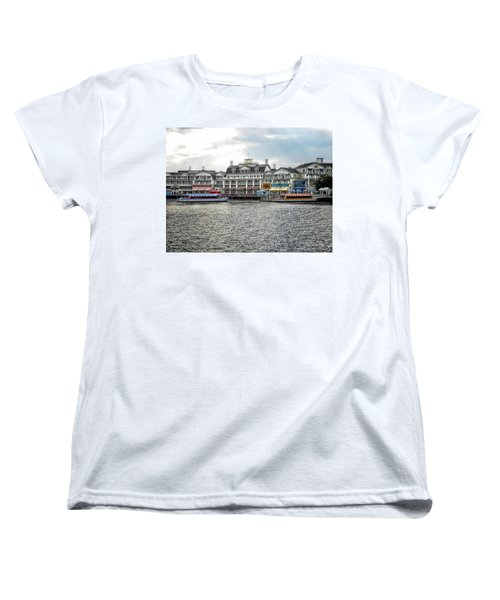 Docking At The Boardwalk Walt Disney World Women's T-Shirt (Standard Cut) by Thomas Woolworth