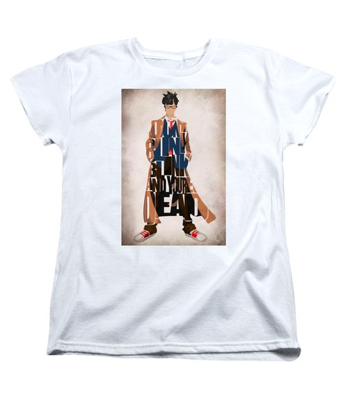 Doctor Who Inspired Tenth Doctor's Typographic Artwork Women's T-Shirt (Standard Cut) by Ayse Deniz