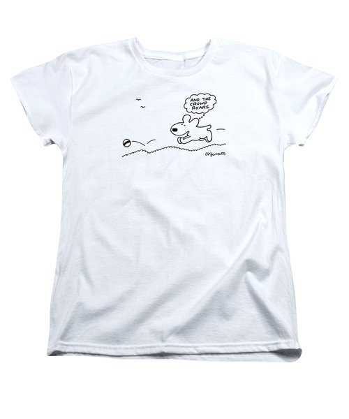 Dog Chases After A Ball Women's T-Shirt (Standard Cut) by Charles Barsotti