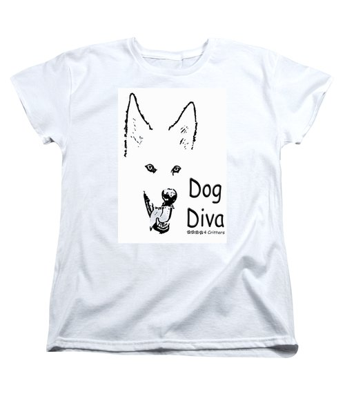 Dog Diva Women's T-Shirt (Standard Cut) by Robyn Stacey