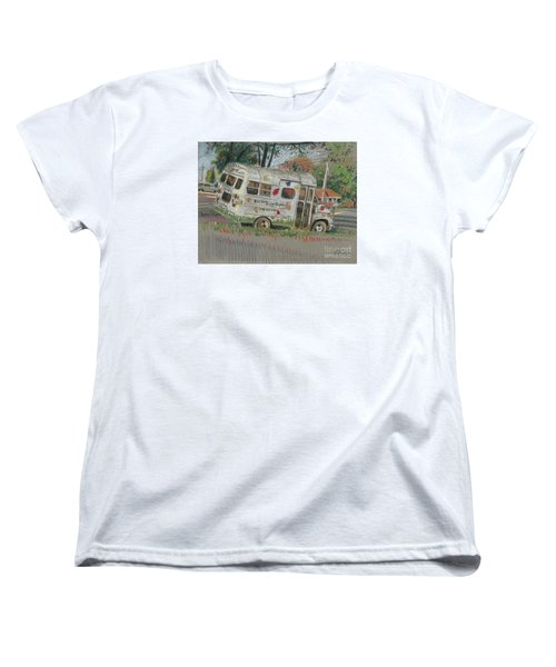 Women's T-Shirt (Standard Cut) featuring the painting Doodlebugs Bus by Donald Maier