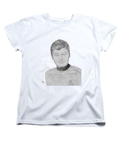 Women's T-Shirt (Standard Cut) featuring the drawing Dr. Leonard Mccoy by Thomas J Herring