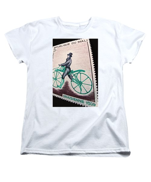 Women's T-Shirt (Standard Cut) featuring the photograph Draisienne 1809 Vintage Postage Stamp Print by Andy Prendy