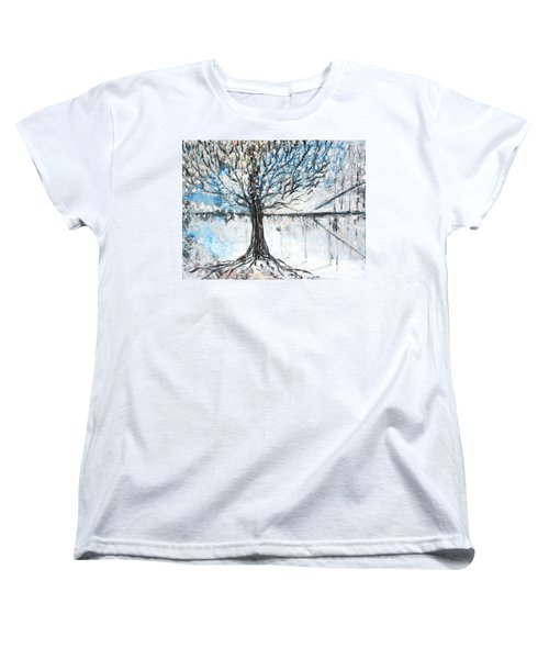 Women's T-Shirt (Standard Cut) featuring the painting Dreamy Spring by Evelina Popilian