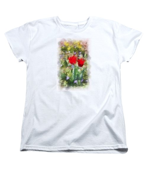 Women's T-Shirt (Standard Cut) featuring the painting Dressed In Red  by Kerri Farley