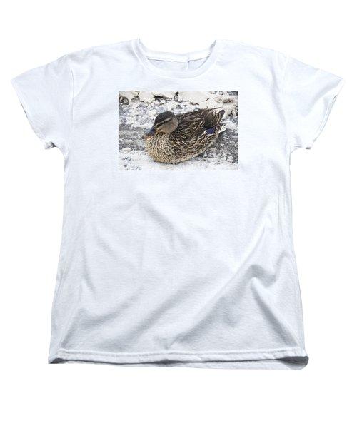 Duck Setting On A Winter Road Women's T-Shirt (Standard Cut)