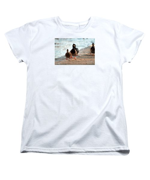 Women's T-Shirt (Standard Cut) featuring the photograph Duck Walk by David Jackson