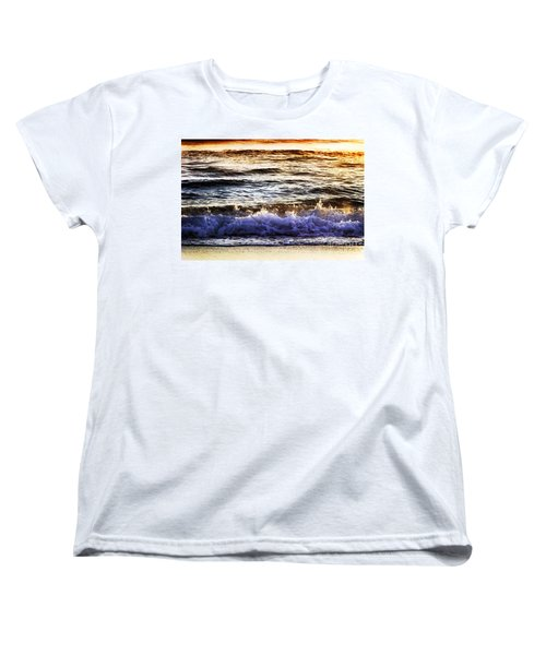 Women's T-Shirt (Standard Cut) featuring the photograph Early Morning Frothy Waves by Amyn Nasser