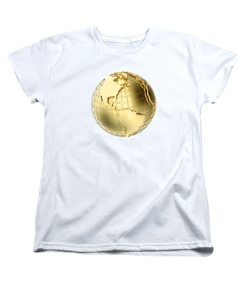 Earth In Gold Metal Isolated On White Women's T-Shirt (Standard Cut) by Johan Swanepoel