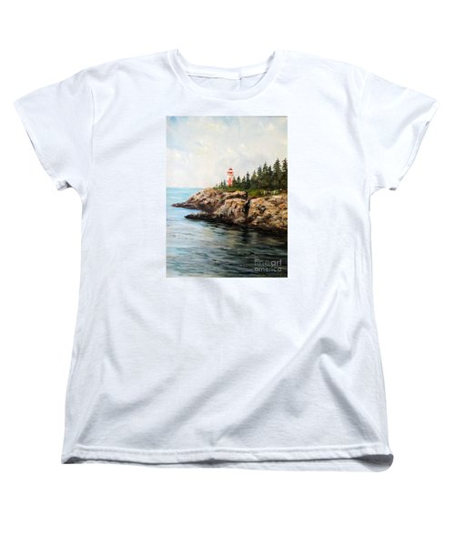 Women's T-Shirt (Standard Cut) featuring the painting East Quoddy Head Light by Lee Piper
