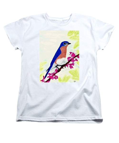 Women's T-Shirt (Standard Cut) featuring the drawing Florida - Eastern - Blue Bird by D Hackett
