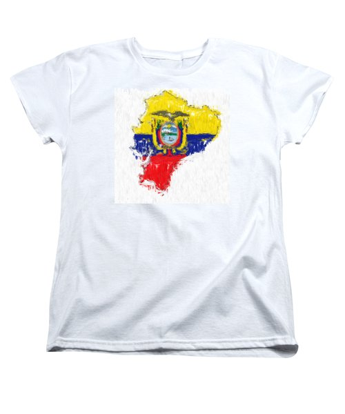 Ecuador Painted Flag Map Women's T-Shirt (Standard Cut) by Antony McAulay