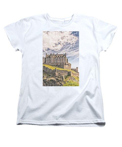 Edinburgh Castle Painting Women's T-Shirt (Standard Cut) by Antony McAulay
