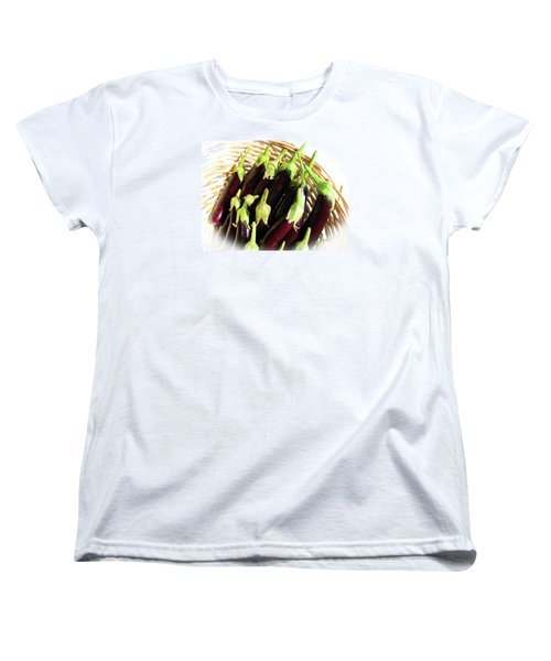 Women's T-Shirt (Standard Cut) featuring the photograph Eggplants In A Basket by Tina M Wenger