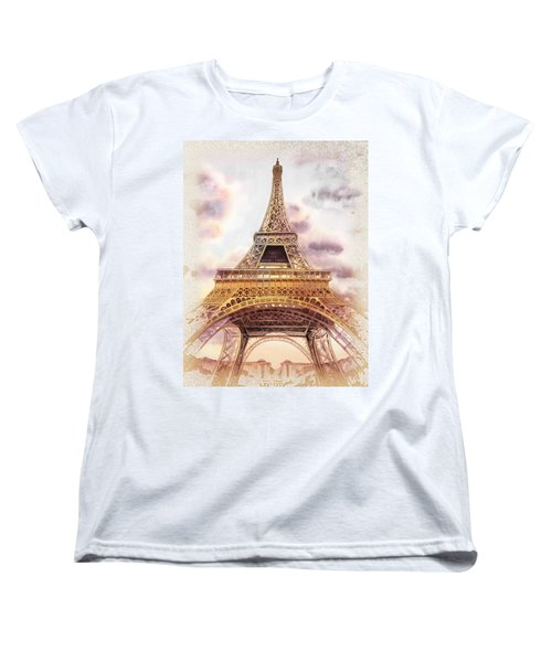 Women's T-Shirt (Standard Cut) featuring the painting Eiffel Tower Vintage Art by Irina Sztukowski