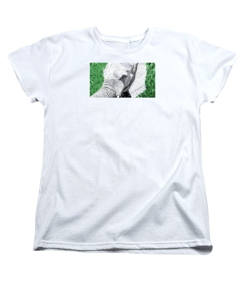 Women's T-Shirt (Standard Cut) featuring the painting Elephant 1 by Jeanne Fischer