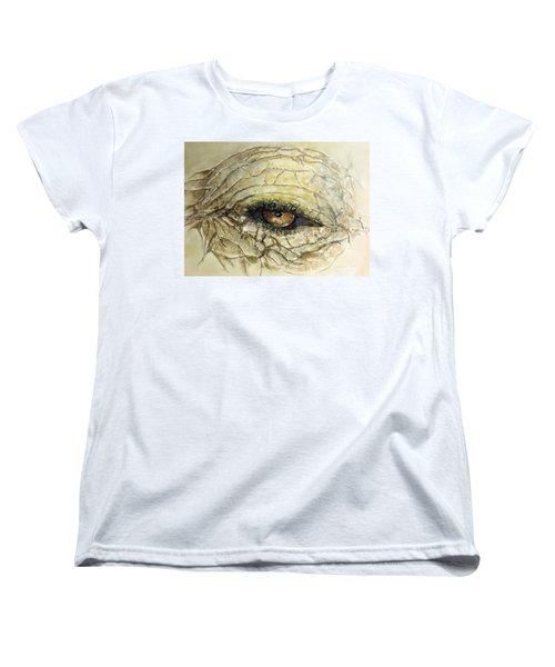 Women's T-Shirt (Standard Cut) featuring the painting Elephant Eye by Bernadette Krupa