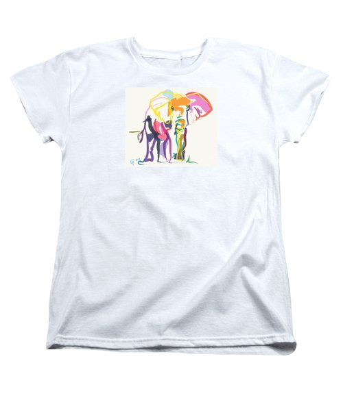 Women's T-Shirt (Standard Cut) featuring the painting Elephant In Color Ecru by Go Van Kampen
