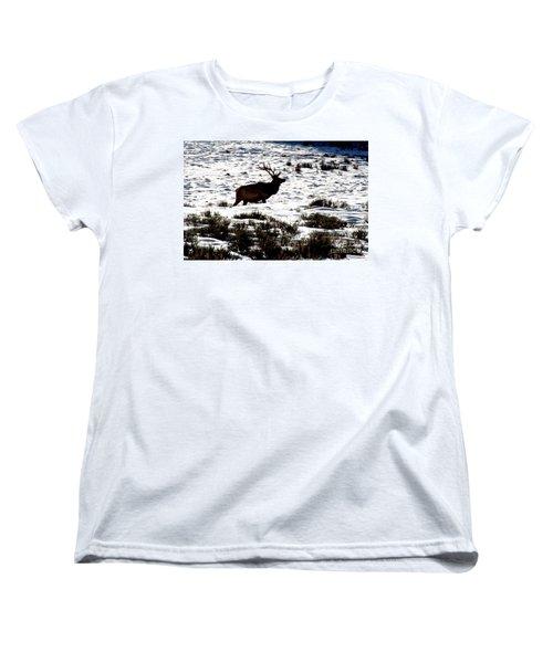 Women's T-Shirt (Standard Cut) featuring the photograph Elk Silhouette by Sharon Elliott