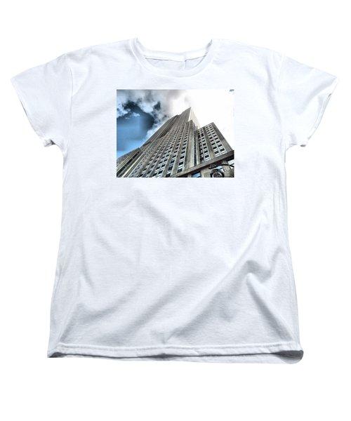Empire State Building - Vertigo In Reverse Women's T-Shirt (Standard Cut) by Luther Fine Art