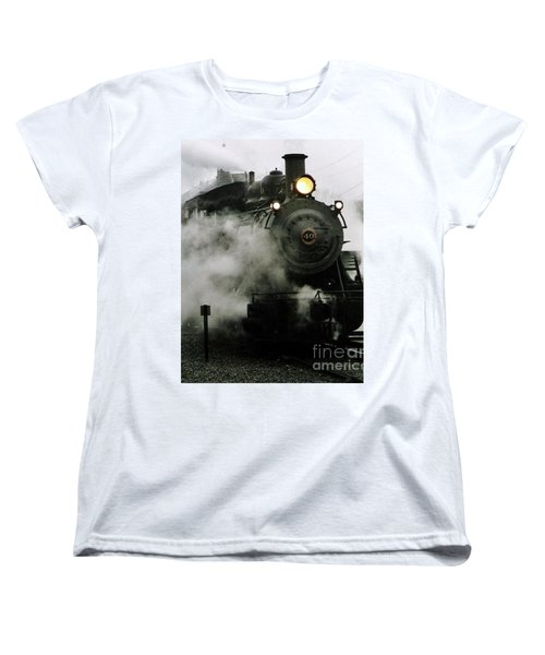 Engine Number 40 Making Steam Pulling Into New Hope Passenger Train Terminal Women's T-Shirt (Standard Cut) by Michael Hoard