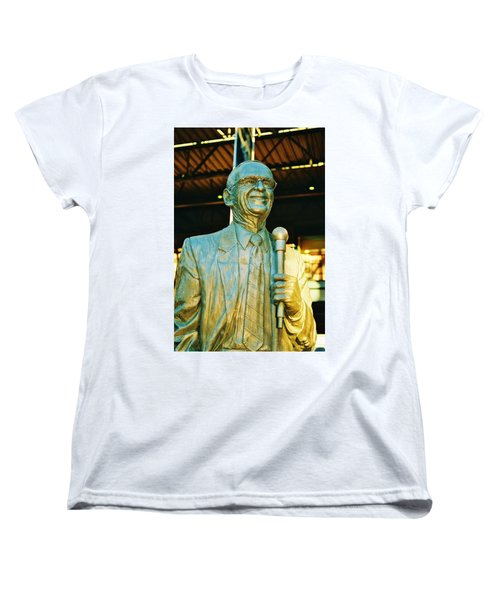 Ernie Harwell Statue At The Copa Women's T-Shirt (Standard Cut) by Daniel Thompson