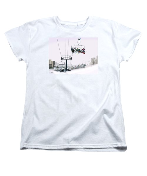 Women's T-Shirt (Standard Cut) featuring the painting Experience Seven Springs by Albert Puskaric