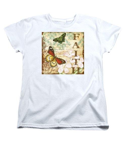 Faith And Butterflies Women's T-Shirt (Standard Cut) by Jean Plout