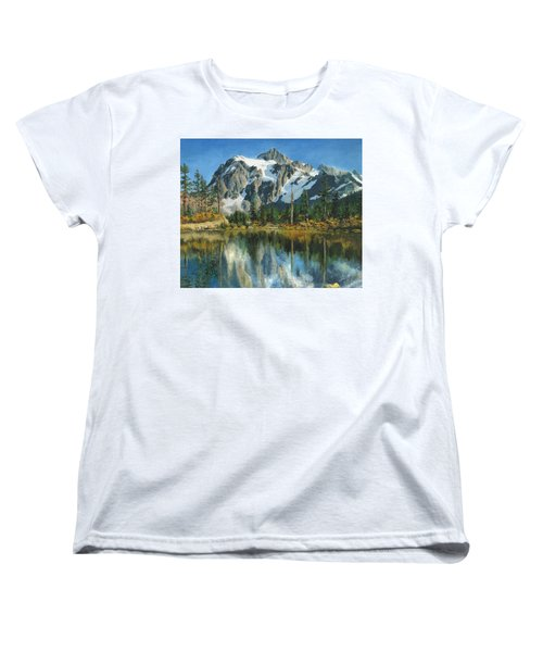 Fall Reflections - Cascade Mountains Women's T-Shirt (Standard Cut) by Mary Ellen Anderson