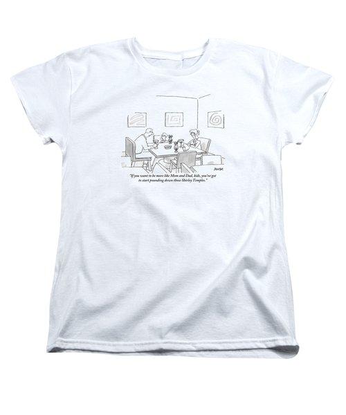 Family Around Table Women's T-Shirt (Standard Cut) by Jack Ziegler