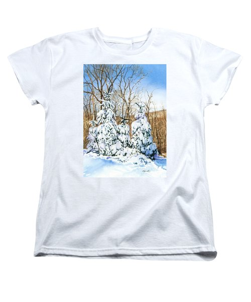 Women's T-Shirt (Standard Cut) featuring the painting Family Of Four Trailside At 7 Springs by Barbara Jewell