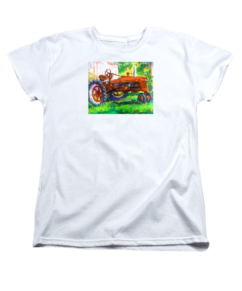 Women's T-Shirt (Standard Cut) featuring the painting Farmall Tractor by Les Leffingwell