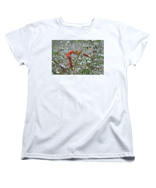 Women's T-Shirt (Standard Cut) featuring the photograph Feeding Cardinals by Geraldine DeBoer