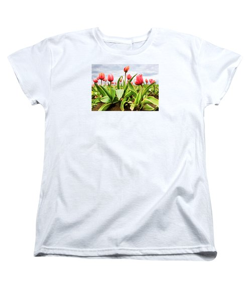 Women's T-Shirt (Standard Cut) featuring the photograph Field Of Pink Tulips by Athena Mckinzie