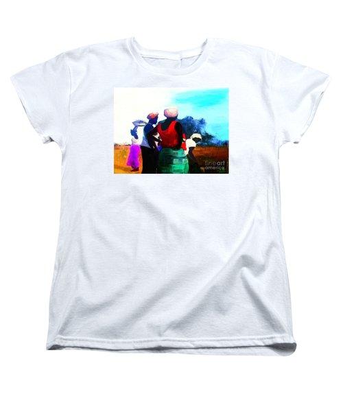 Women's T-Shirt (Standard Cut) featuring the painting Field Women by Vannetta Ferguson