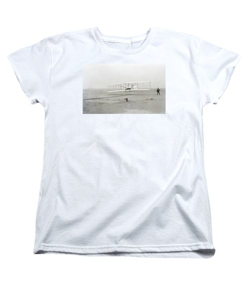 First Flight Captured On Glass Negative - 1903 Women's T-Shirt (Standard Cut) by Daniel Hagerman