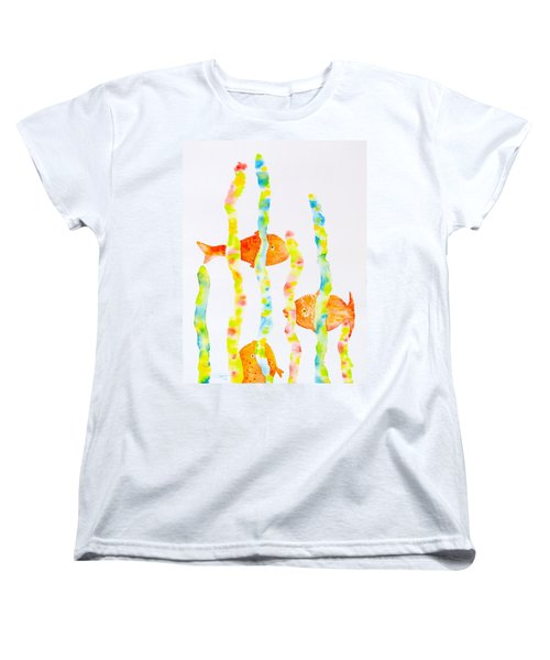 Women's T-Shirt (Standard Cut) featuring the painting Fish Fun by Michele Myers