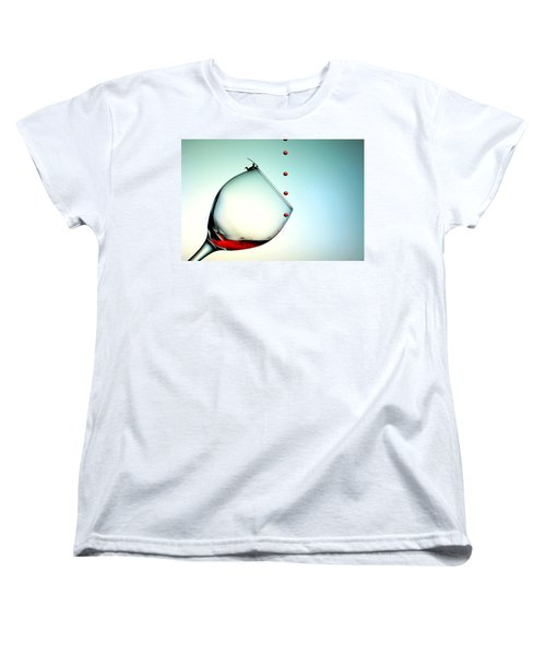 Fishing On A Glass Cup With Red Wine Droplets Little People On Food Women's T-Shirt (Standard Cut) by Paul Ge