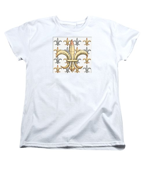 Fleur De Lys Silver And Gold Women's T-Shirt (Standard Cut) by Barbara Chichester