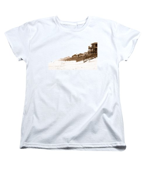 Florida Beach Sepia Print Women's T-Shirt (Standard Cut) by Charles Beeler