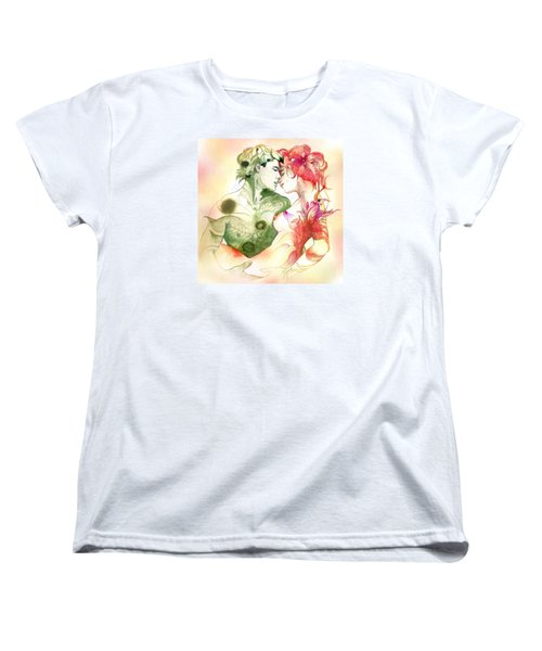Women's T-Shirt (Standard Cut) featuring the painting Flower And Leaf by Anna Ewa Miarczynska